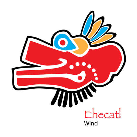 feathered: Vector Aztec Ehecatl-Wind Icon