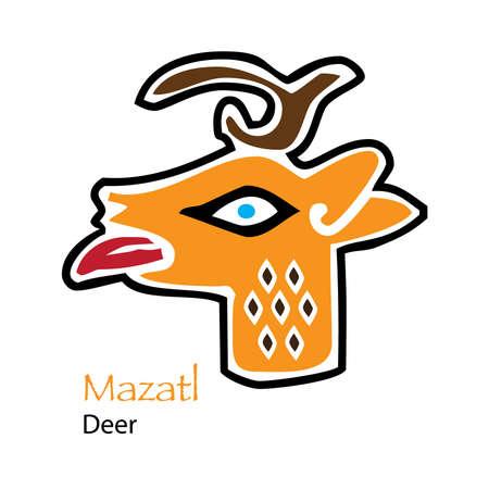aztec calendar: Vector Aztec Calendar Mazatl-Deer Icon