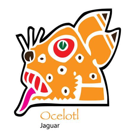 aztec calendar: Aztec Calendar Ocelotl-Jaguar Icon