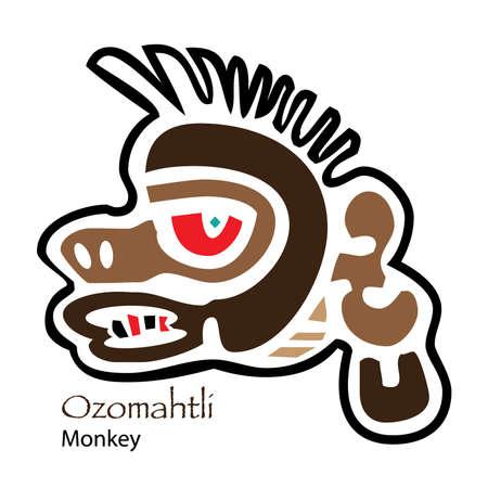 aztec calendar: Aztec Calendar Ozomahtli-Monkey Icon
