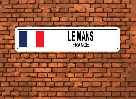 Le Mans, France Street Sign, Brick Background Vector Illustration Çizim