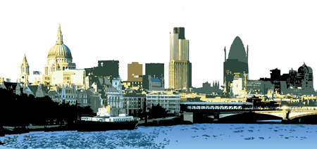 London Colour Skyline Layered Vector Illustration