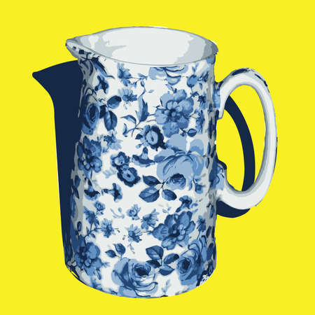 milk jug: Vector Illustration Old Floral China Milk Jug