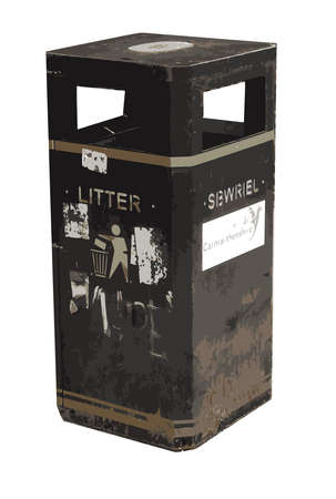 litter: Welsh Litter Bin Sbwriel with Graffiti Illustration