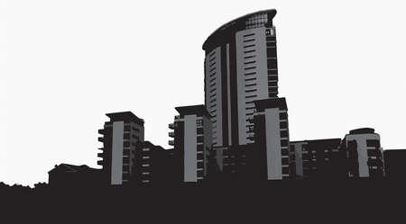 quay: Vector Swansea Marina Skyline Greyscale Illustration