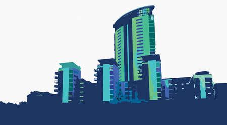 quay: Vector Swansea Marina Skyline Blues Illustration Illustration