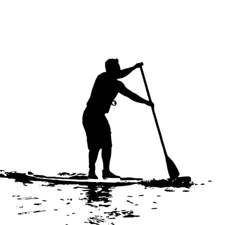 Paddle Boarding Vector Black Silhouette