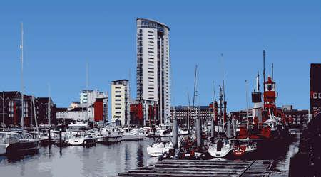 Interieur Skyline Swansea Marina Vector Illustratie