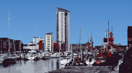 quay: Interior Swansea Marina Skyline Illustration
