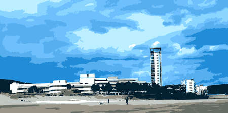 civic: Swansea Civic Centre and The Tower from the Beach Vector Illustration