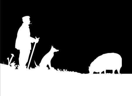 Pastor del vector con el perro y la silueta de las ovejas Ilustración de vector