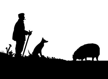 herding dog: Vector Shepherd with Dog and Sheep Silhouette