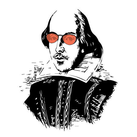 Spoof Vector Drawing of The Bard with Red-Tinted Glasses Vettoriali
