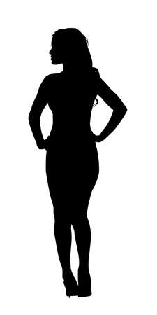 rear view girl: Attractive Leggy Lady Rear Profile Silhouette Vector