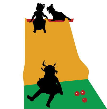 Little girl multiple isolated silhouettes indoor slide