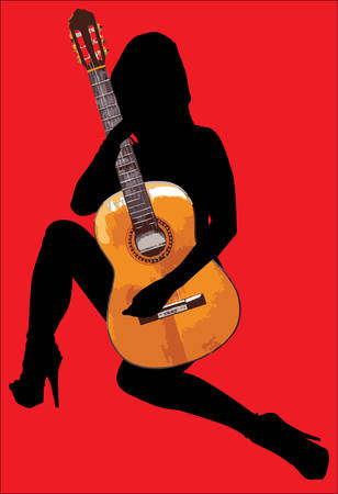 hot chick: Hot Guitar Woman Isolated On Red