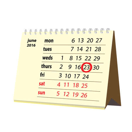 movable: June 23rd Desk Calendar movable day marker Illustration