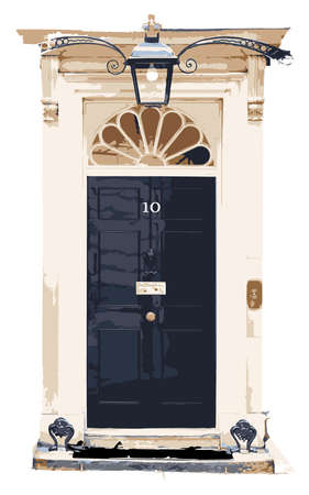 minister: Vector Ten Downing Street Isolated Front Door Home of British Prime Minister