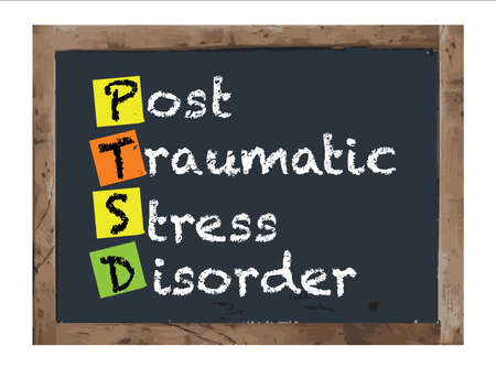 hyperactivity: Post-traumatic Stress Disorder Vector Antique Notice Board Illustration