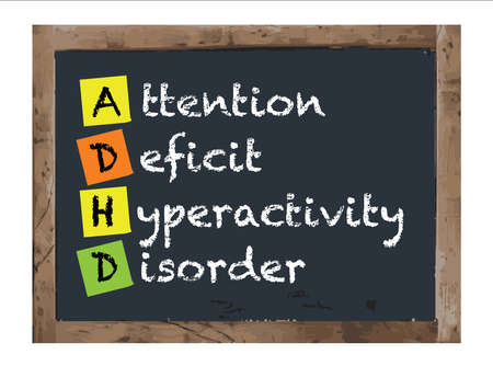 adhd: Attention Deficit Hyperactivity Disorder Vector Antique Notice Board