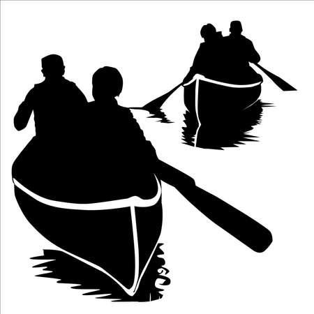 Canoeing Vector Silhouette