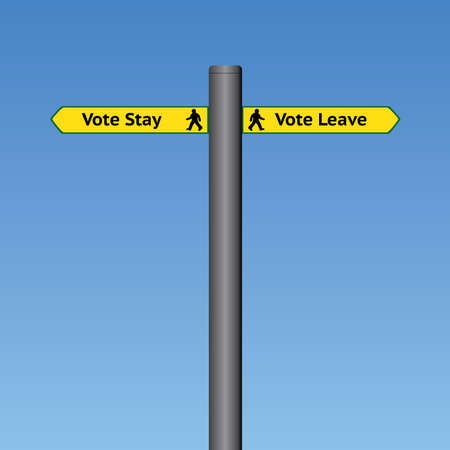 common market: Vector Stay or Leave Signpost Sky Background