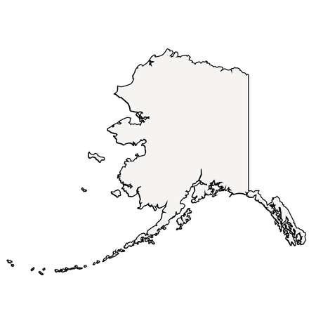 알래스카 (미국) 개요 벡터지도 스톡 콘텐츠 - 58454031