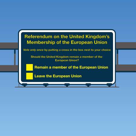 common market: Vector UK European Union Referendum Road Sign