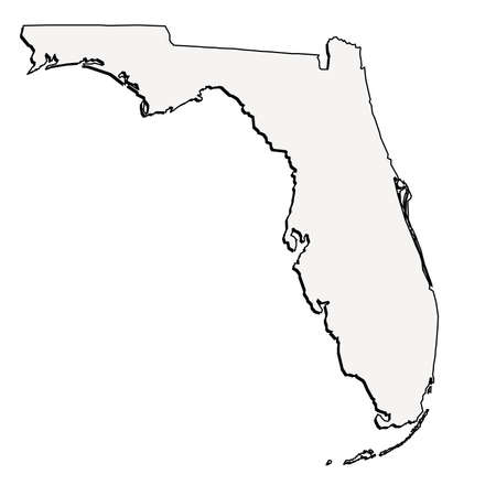 florida state: Vector Florida State 3D Outline Map