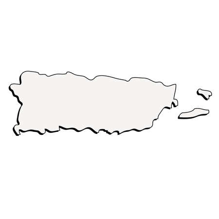 Puerto Rico 3D Outline Map