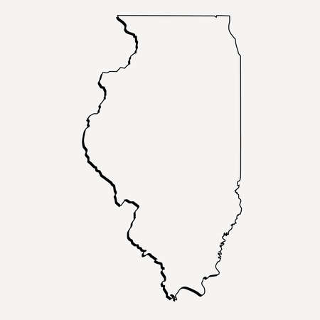 Vector Illinois State 3D Overzichtskaart Stock Illustratie