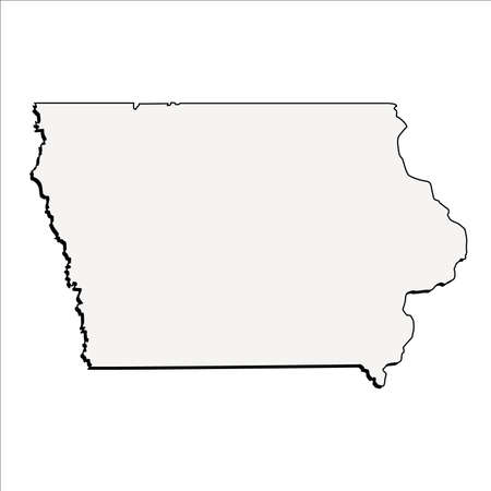 Vector Iowa State 3D Outline Map