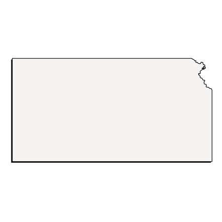Vector Kansas State 3D Outline Map