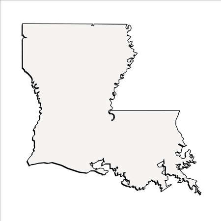 Vector Louisiana State 3D Outline Map