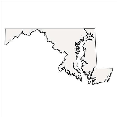 Vector Maryland State 3D Overzichtskaart Stock Illustratie