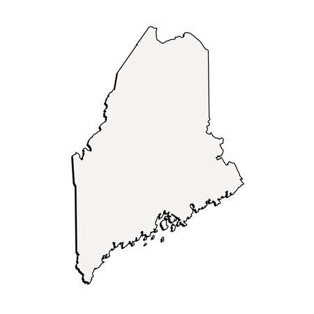 Vector Maine State 3D Outline Map