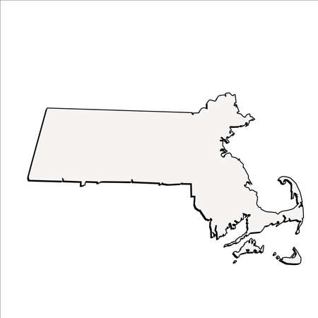 massachussets: Vector Massachussets State 3D Outline Map