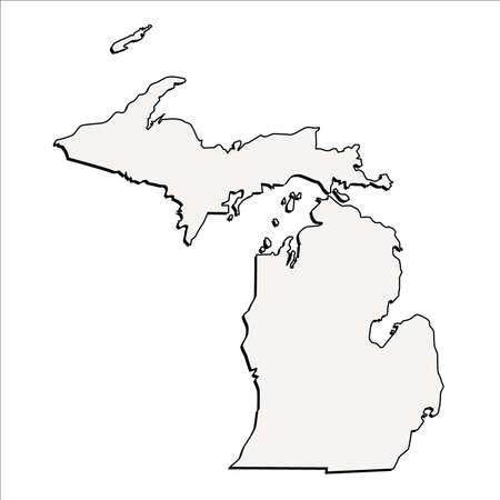 Vector Michigan State 3D Overzicht Kaart Stock Illustratie