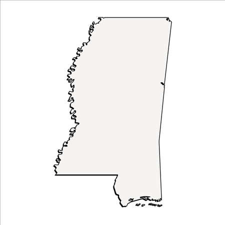 Vector Mississippi State 3D Outline Map