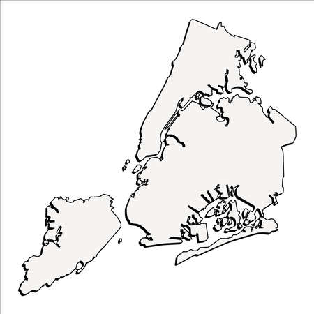 Vector New York State 3D Outline Map