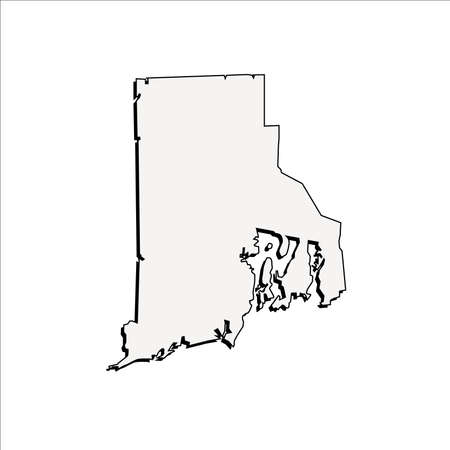 Vector Rhode Island State 3D Outline Map