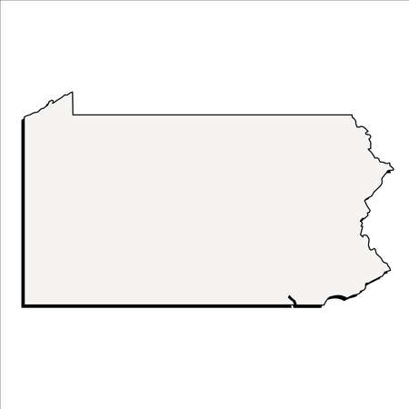 Vector Pennsylvania State 3D Outline Map Illustration