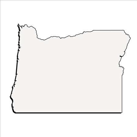 Vector Oregon State 3D Outline Map 일러스트