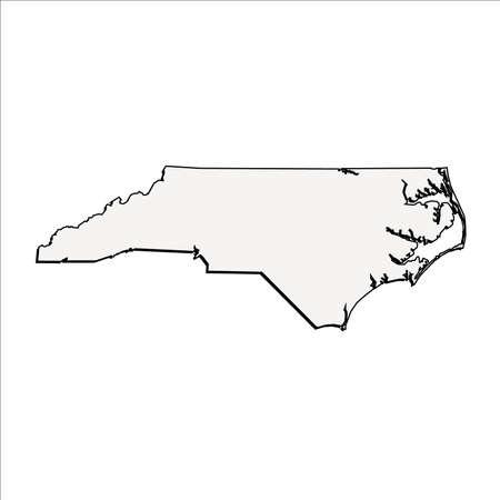 north carolina: Vector North Carolina State 3D Outline Map Illustration