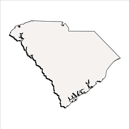 Vector South Carolina State 3D Outline Map