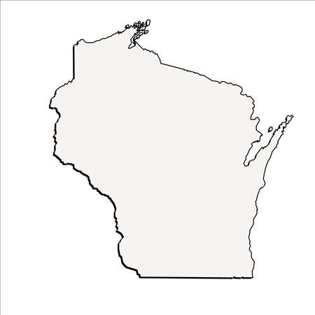wisconsin state: Vector Wisconsin State 3D Outline Map