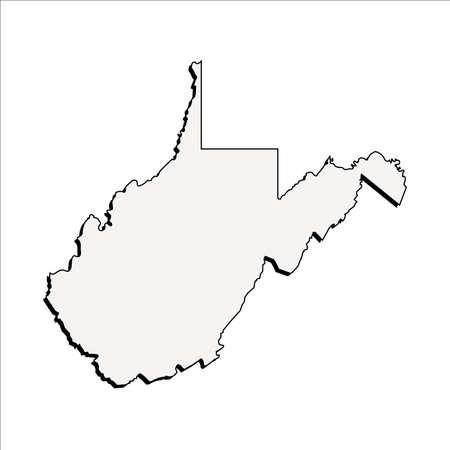 mercator: Vector West Virginia State 3D Outline Map Illustration