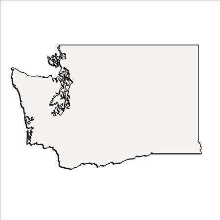 Vector Washington State 3D Outline Map Çizim