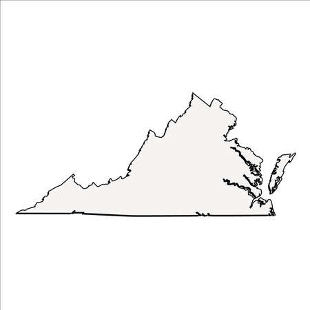 mercator: Vector Virginia State 3D Outline Map