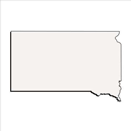 Vector South Dakota State 3D Outline Map